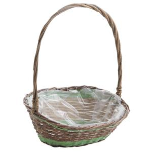 Photo FCO5430P : Unpeeled willow and polyrattan flower basket