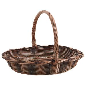 Photo FCO5451 : Buff and unpeeled willow basket with handle