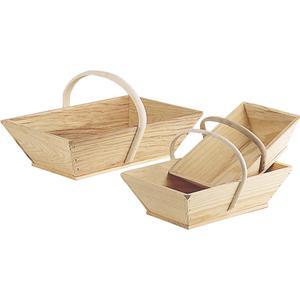 Photo FPA1364 : Pine wood basket with rattan handle