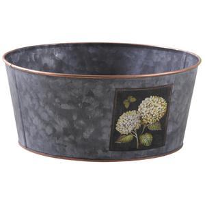 Photo GCO3710 : Corbeille ronde en métal hortensia