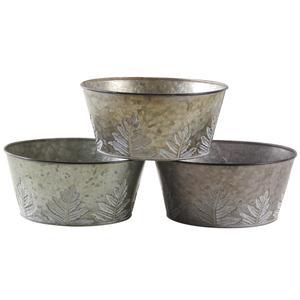 Photo GCO3750 : Corbeille ronde en métal patiné feuilles