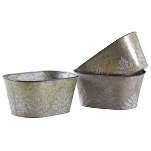 Photo GCO3760 : Corbeille ovale en métal patiné feuilles