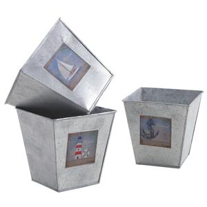 Photo GCP1960 : Cache-pot carré en métal galvanisé