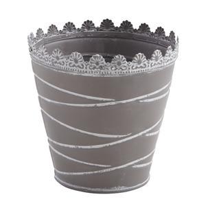 Photo GCP1971 : Cache-pot en métal laqué gris taupe