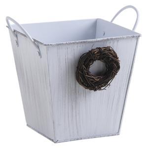 Photo GCP2010 : Cache-pot carré en métal laqué blanc