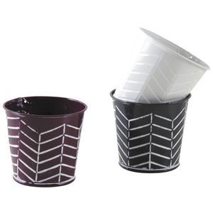 Photo GCP2050 : Mini cache-pot rond en métal laqué à chevrons