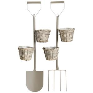 Photo JAC1520P : Stained split willow and metal wall pot holder