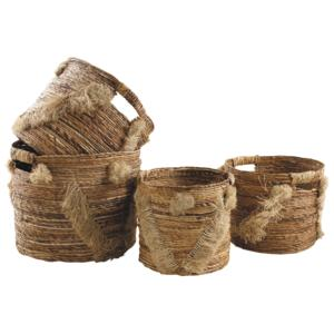 Photo JCP376S : Cache-pot ronds en bananier avec franges