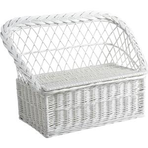 Photo KBA1040 : White lacquered willow toy chest sofa