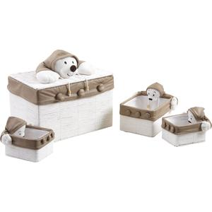 Photo KJO167SC : Paper rope toy chest teddy bear with 3 storage baskets