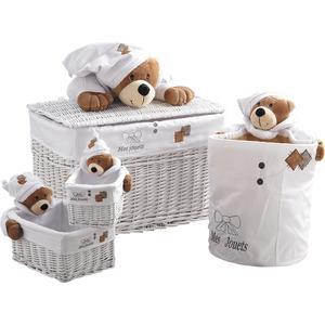 Photo KJO169SC : Coffre à jouets ourson + 3 corbeilles