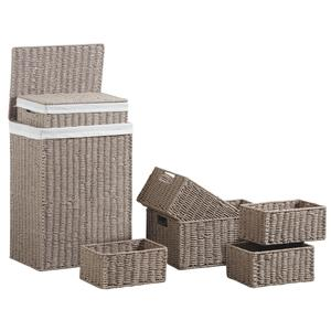 Photo KLI333SC : Taupe grey paper rope laundry baskets and storage baskets