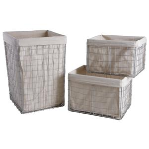 Photo KLI334SJ : Metal laundry basket with storage baskets