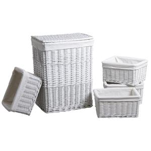 Photo KLI341SC : White lacquered willow laundry basket with 4 storage baskets