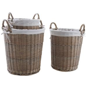 Photo KLI359SC : Stained willow and cotton laundry basket