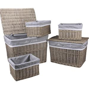 Photo KMA188SC : 2 chests with 3 willow storage baskets