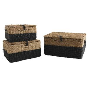 Photo KMA199S : Black stained and natural seagrass suitcase boxes