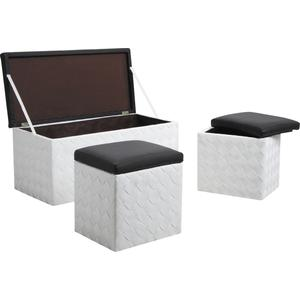 Photo KPO121SC : Coffres poufs en corde et simili cuir