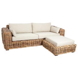 Photo MCA1380C : Rattan sofa with stool