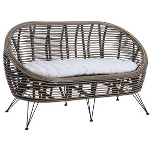 Photo MCA1390C : Grey pulut rattan and metal couch Mississippi