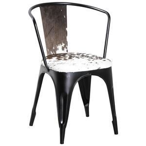 Photo MCH1580C : Chaise en métal et peau de vache