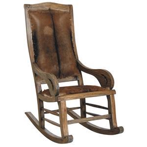 Photo MRO1170C : Mahogany and goatskin ricking-chair