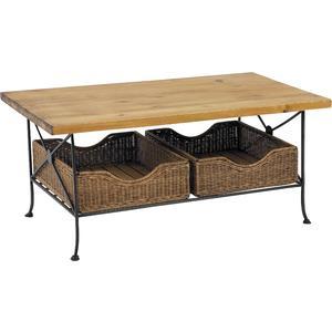 Photo MTA1010 : Table basse en métal, pin et rotin