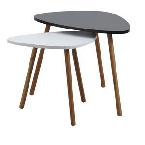 Photo MTB127S : Tables en bois et MDF laqué noir et blanc