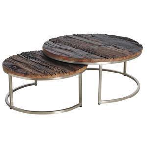 Photo MTB149S : Tables basses en bois massif et acier