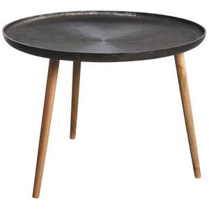 Photo MTB1520 : Table ronde en métal zinc antique et bois