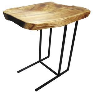 Photo MTB1560 : Table d'appoint en bois brut et métal