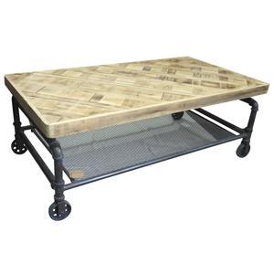 Photo MTB1590 : Table indus sur roues en bois et métal