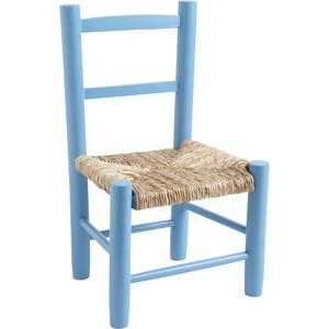 Photo NCE1220 : Chaise enfant en hêtre laqué bleu ciel