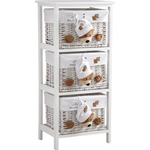 Photo NCM2590C : Wood and willow chest of drawers teddy bear