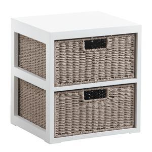 Photo NCM2990 : Commode 2 tiroirs en bois et papier cordé