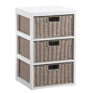Photo NCM3000 : Commode 3 tiroirs en bois et papier cordé