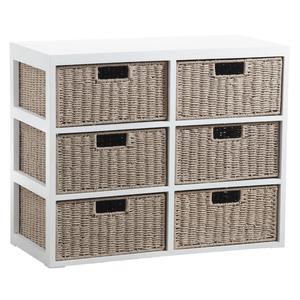 Photo NCM3020 : Commode 6 tiroirs en bois et papier cordé