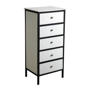 Photo NCM3090 : Commode 5 tiroirs en bois et métal