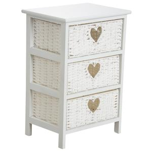 Photo NCM3190 : Commode blanche en medium et corde 3 tiroirs