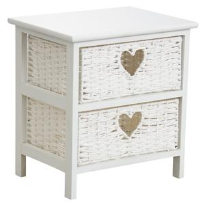 Photo NCM3200 : Commode blanche en medium et corde 2 tiroirs