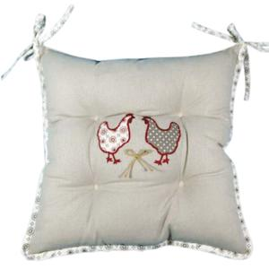 Photo NCO2280 : Sitting cushion with 2 hens and flowers