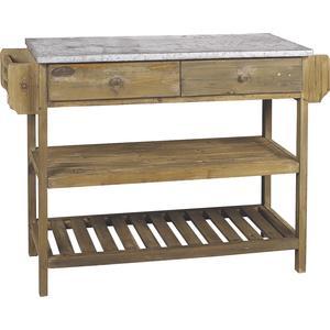 Photo NCS1040 : Console en bois vieilli et zinc