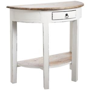 Photo NCS1220 : Console demi-lune en bois blanc antique
