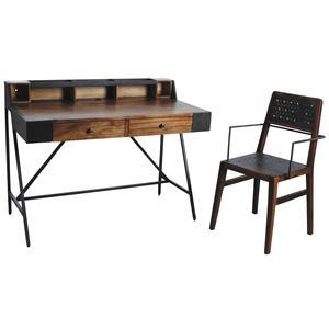 Photo NCS130S : Bureau avec fauteuil Alice en bois de suar massif et métal