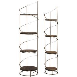 Photo NET243S : Etagères rondes en bois et métal