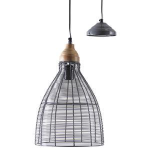 Photo NLA2060 : Lampe suspension en métal laqué gris et bois