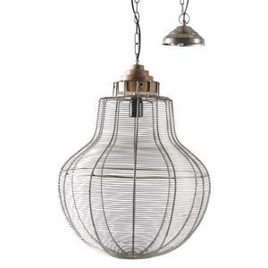 Photo NLA2070 : Lampe suspension en métal gris antique et bois