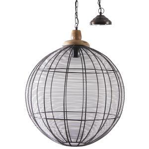 Photo NLA2080 : Lampe suspension en métal cuivré et bois