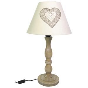 Photo NLA2200 : Lampe à poser coeur en bois et coton