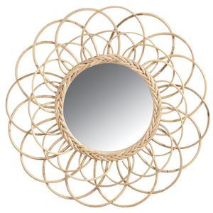 Photo NMI1420V : Miroir fleur en rotin